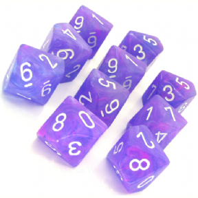 Purple & White Wild D10 Ten Sided Dice Set